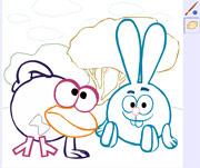 Раскраска Смешарики - онлайн игра для детей